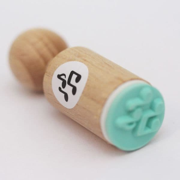 VERY MINI Round Rubber Stamp – Music Notes
